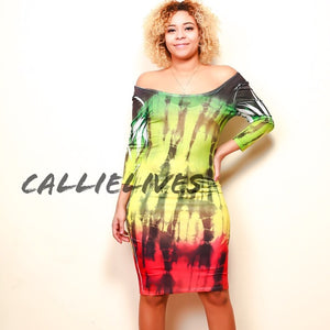 Callie Patois: Tie Dyed Rasta Fine Bodycon Dress