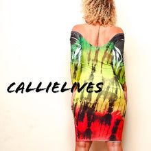 Load image into Gallery viewer, Callie Patois: Tie Dyed Rasta Fine Bodycon Dress