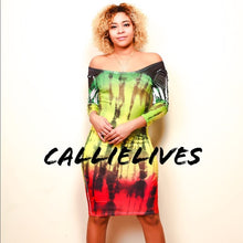 Load image into Gallery viewer, Callie Patois: Tie Dyed Rasta Fine Bodycon Dress - callielives