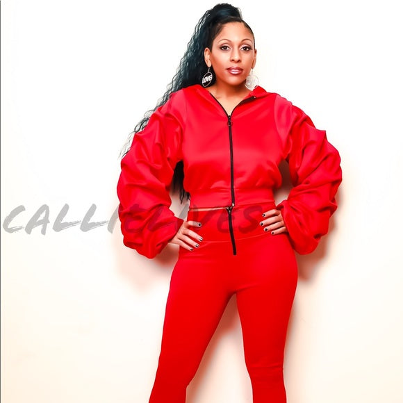 Pleated Sleeves Please: Red Puffy 2Pc Set, Sets, CallieLives