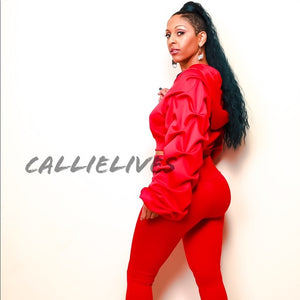 Pleated Sleeves Please: Red Puffy 2Pc Set (PLUS) - callielives