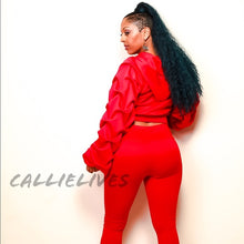 Load image into Gallery viewer, Pleated Sleeves Please: Red Puffy 2Pc Set, Sets, CallieLives
