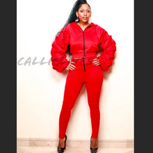 Load image into Gallery viewer, Pleated Sleeves Please: Red Puffy 2Pc Set (PLUS) - callielives