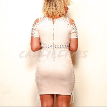 Load image into Gallery viewer, Stasia Beige: Lace Up Detail Suede Bodycon Dress