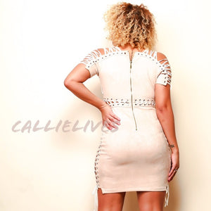 Stasia Beige: Lace Up Detail Suede Bodycon Dress - callielives
