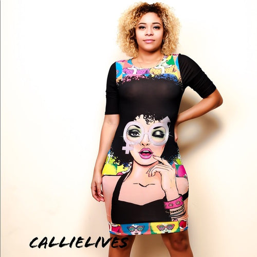 Miz Both Wayz: Crew Neck Graphic Bodycon Dress - callielives