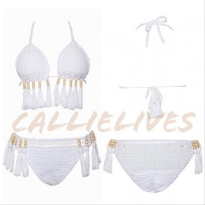 Callie Crochet: White Sand Beaded Boho Bikini, Swimwear, CallieLives