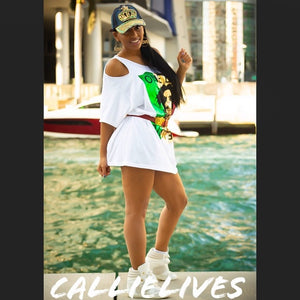Miz Marley: Gold Foil Custom Cut T-Shirt Dress, Dresses, CallieLives