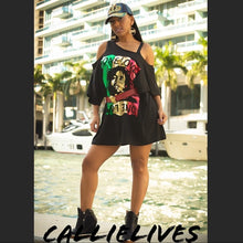 Load image into Gallery viewer, Miz Marley: Gold Foil Custom Cut T-Shirt Dress, Dresses, CallieLives