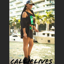 Load image into Gallery viewer, Miz Marley: Gold Foil Custom Cut T-Shirt Dress - callielives