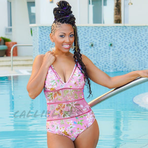 Elaine Floral Queen One Piece Pink Resort Swimsuit - callielives