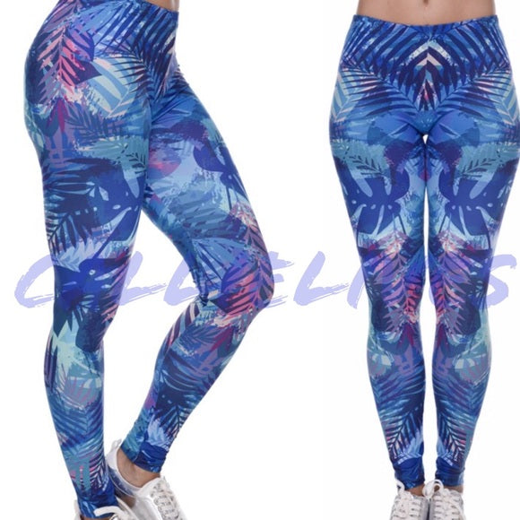 Callie Blue Tropic: Digital Print Graphic Leggings - callielives