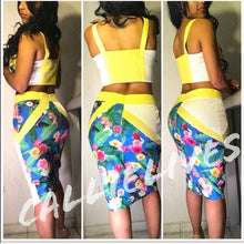 Load image into Gallery viewer, Callie Flower: Netted Pencil Skirt SET CROP TOP
