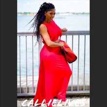Load image into Gallery viewer, Callie Red Laser: Diamond Cut Cropped Maxi Dress - callielives