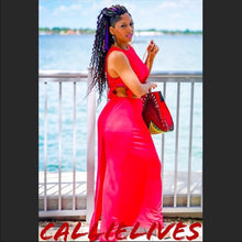 Load image into Gallery viewer, Callie Red Laser: Diamond Cut Cropped Maxi Dress, Dresses, CallieLives