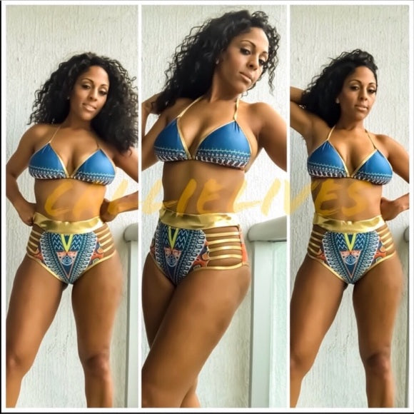 Callie Wonder Plus: Gold Foil Bikini Tribal Ink