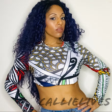 Load image into Gallery viewer, Callie Abstract: African Tribal Art Crop Top - callielives