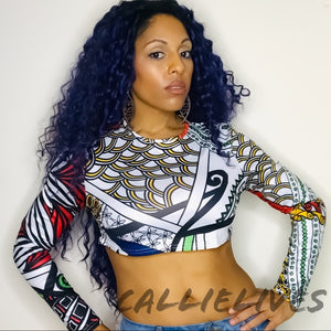Callie Abstract: African Tribal Art Crop Top, Tops, CallieLives