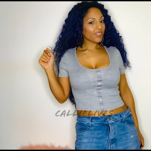 Stasia Gray: RIBBED Crop Top FAUX SNAP Scoop Tee - callielives