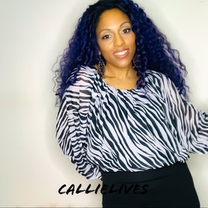 Elaine the Wild: Zebra Print Boatneck Work Blouse, Tops, CallieLives