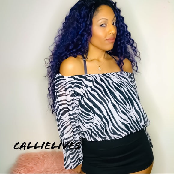 Elaine the Wild: Zebra Print Boatneck Work Blouse - callielives