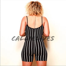 Load image into Gallery viewer, Stasia Pinstriped: Black Romper Short Jumpsuit - callielives