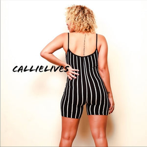 Stasia Pinstriped: Black Romper Short Jumpsuit - callielives