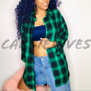 Stasia Fund$: Girls Wanna Oversized Plaid Shirt - callielives