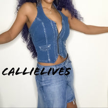 Load image into Gallery viewer, Callie Spark: Zipped Denim Vest Rhinestone Halter Top - callielives