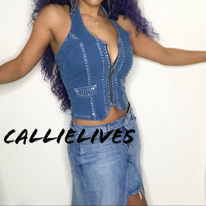 Callie Spark: Zipped Denim Vest Rhinestone Halter Top - callielives