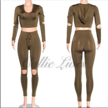 Load image into Gallery viewer, Xena Silky Jogger: Bodycon Cutout Hoody Sets (PLUS) - callielives
