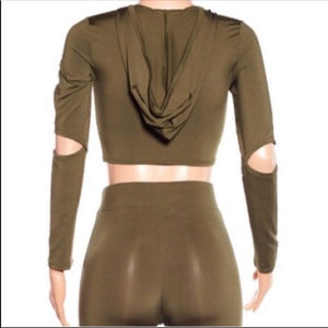 Xena Silky Jogger: Bodycon Cutout Hoody Sets (PLUS) - callielives