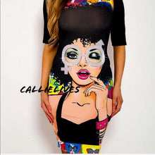 Load image into Gallery viewer, Miz Both Wayz: Crew Neck Graphic Bodycon Dress, Dresses, CallieLives