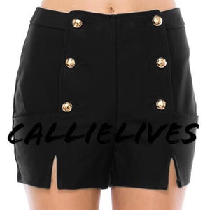Callie High Tide Black and Blue Sailor Button Cruise Shorts