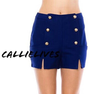 Callie High Tide Black and Blue Sailor Button Cruise Shorts, Shorts and Skirts, CallieLives