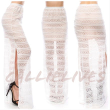 Load image into Gallery viewer, Callie Lace Creamy Split & Lined Maxi Boho Skirt - callielives