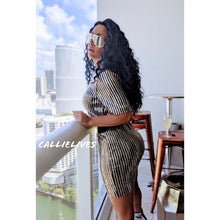 Load image into Gallery viewer, Callie Rockstar Formal Dress: Pinstripe Sequins - callielives