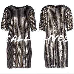 Callie Rockstar Formal Dress: Pinstripe Sequins - callielives