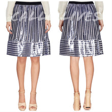 Load image into Gallery viewer, Callie Trapeze: Sequin Stripe Midi Skirt Blue Pink