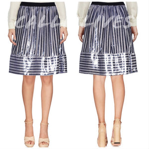 Callie Trapeze: Sequin Stripe Midi Skirt Blue Pink