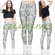 Load image into Gallery viewer, Miz Cash: Money Hundred Dollar Bill Print leggings, Leggings & Joggers, CallieLives