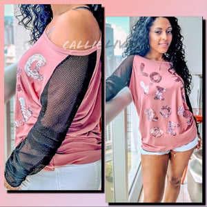 Denny Rose: Blush Sequin Love Net Sleeve T-Shirt M