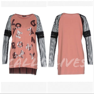 Denny Rose: Blush Sequin Love Net Sleeve T-Shirt M, Tops, CallieLives