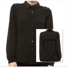 Load image into Gallery viewer, Elaine Sheer Grommet Flyness: Black Button up top, Tops, CallieLives