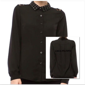Elaine Sheer Grommet Flyness: Black Button up top, Tops, CallieLives