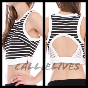 Stasia Blind Lines: Open Back Striped Crop Top