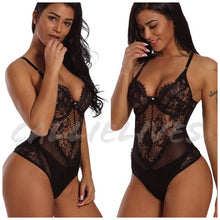 Load image into Gallery viewer, Xena Lace Lingerie: Sheer Mesh Black Bodysuit