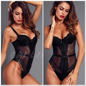Xena Lingerie: Black Sheer Lace Snap Bodysuit