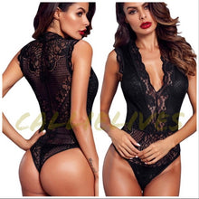 Load image into Gallery viewer, Xena Lingerie: Deep Plunge Lace Halter Bodysuit
