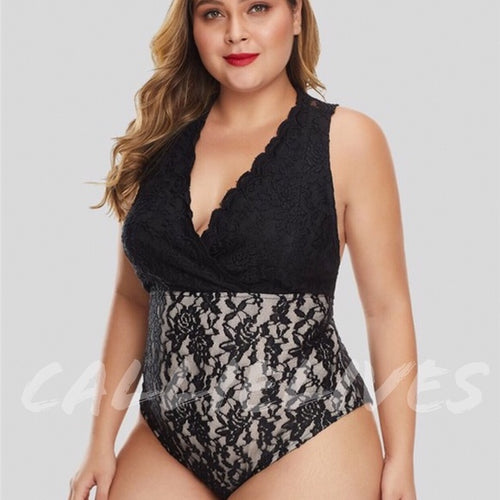Xena Curves Plus Lingerie: Black Plunge Lace Lined Teddy